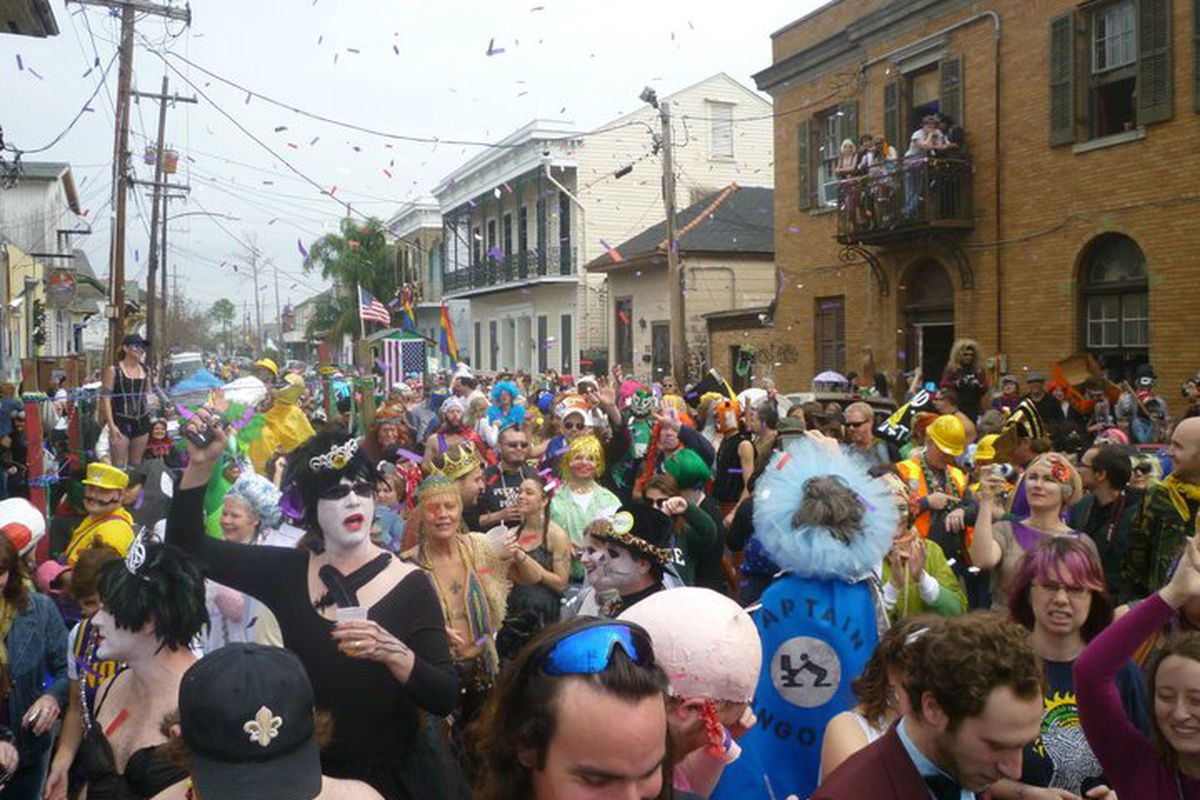 Mardi Gras 2011 in front of Mimi's in the Marigny. Click to enlarge.
