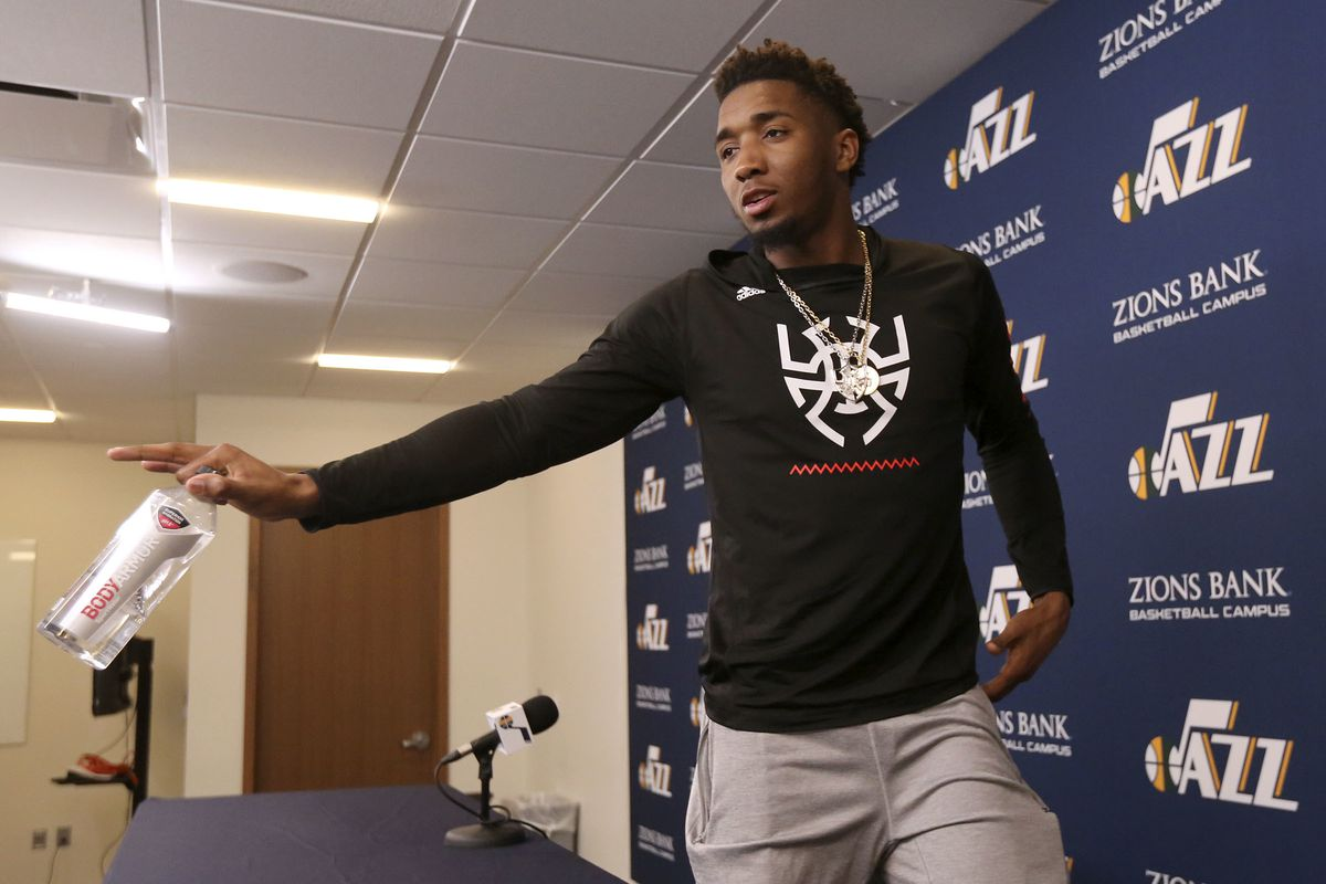 Utah Jazz guard Donovan Mitchell leaves after talking to members of the media at the Zions Bank Basketball Center in Salt Lake City on Thursday, April 25, 2019. The Utah Jazz season ended with Wednesday's loss to Houston in the playoffs.