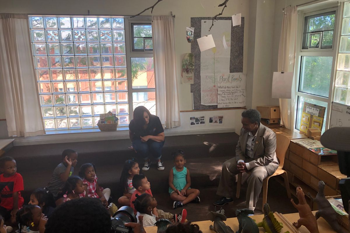 Chicago Mayor Lori Lightfoot speaks to a group of 3-, 4-, and 5-year-olds Aug. 9, 2019, at Chicago Commons Nia Learning Center in West Humboldt Park.