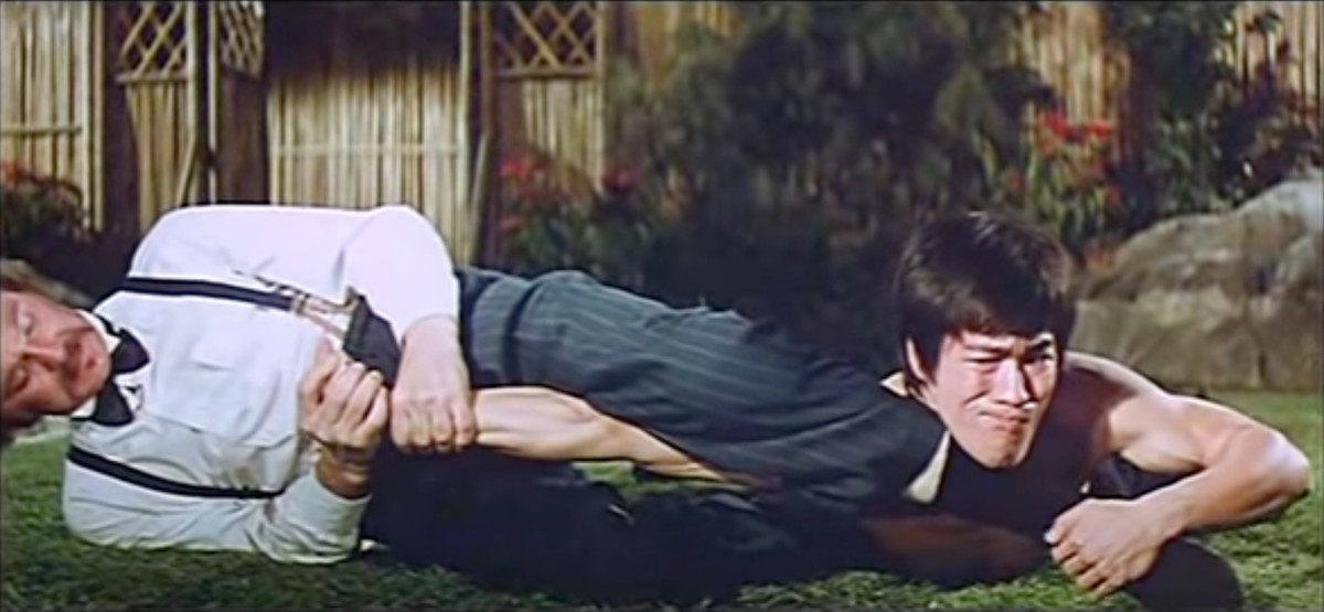 Bob Baker trying to armbar Bruce Lee in the 1972 film Fist of Fury