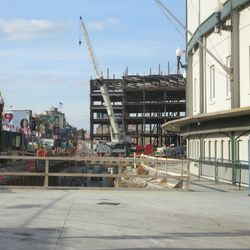 3:30 p.m. Wider view of where the excavation work is taking place, in front of the ticket windows -