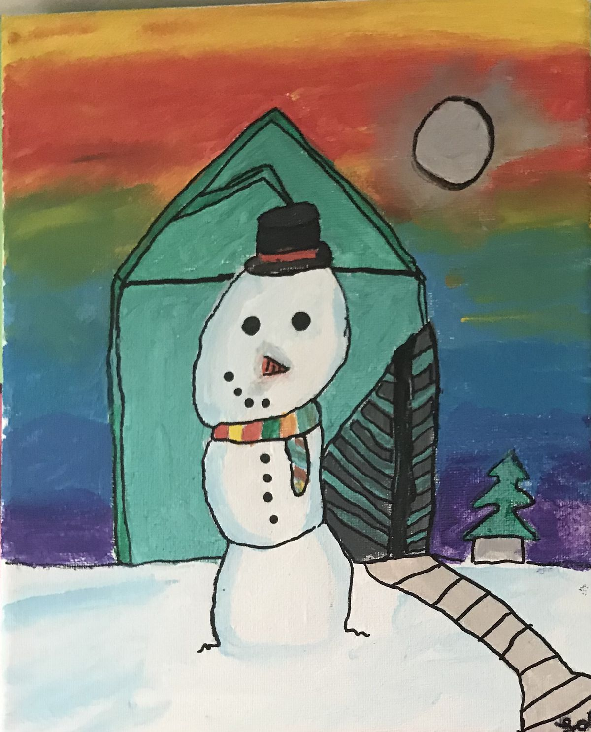 A snowman set against a backdrop of deep colors by Lara A., 12, a seventh-grader at Century Junior High School in Orland Park.