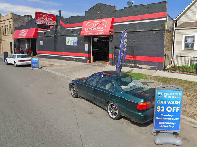 Outside of FX Auto Spa at 1633 N. Cicero Ave.