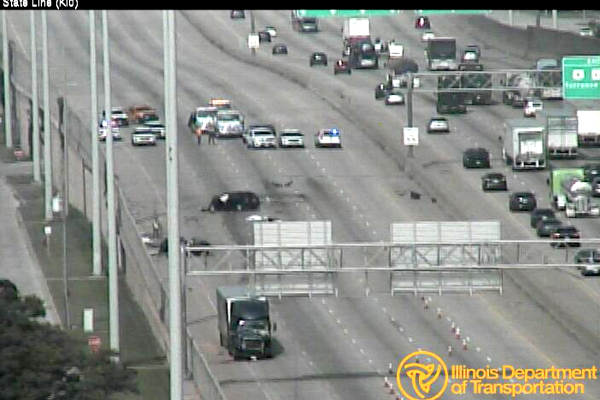 A surveillance video frame from about 9:30 a.m. shows the scene were two people were killed in a crash Aug. 10, 2020, on I-80 near Burnham Avenue in Lansing.