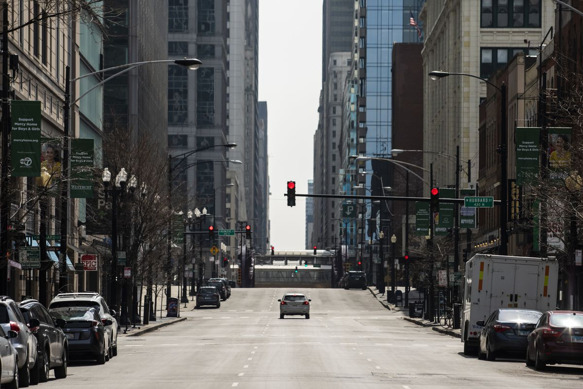 A quiet downtown Chicago in March 2020, during the second week of a stay-home order near the beginning of the coronavirus pandemic.