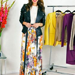 """Sydne of <a href=""""http://www.sydnestyle.com""""target=""""_blank"""">Sydne Style</a> is wearing an Aqua sweater, a <a href=""""http://www.victoriassecret.com/gifts/luxe-gifts/leather-moto-jacket?ProductID=139717&CatalogueType=OLS&URL=http%3A%2F%2Fwww.victoriassec"""