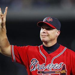 Atlanta Braves third baseman Chipper Jones (10) waves to the crowd during a ceremony honoring him before  a baseball game against New York Mets in Atlanta, Friday,  Sept. 28, 2012. Jones plans to retire at the end of the season.