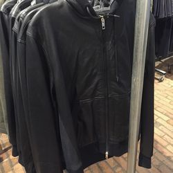Leather Christopher hoodie, $495