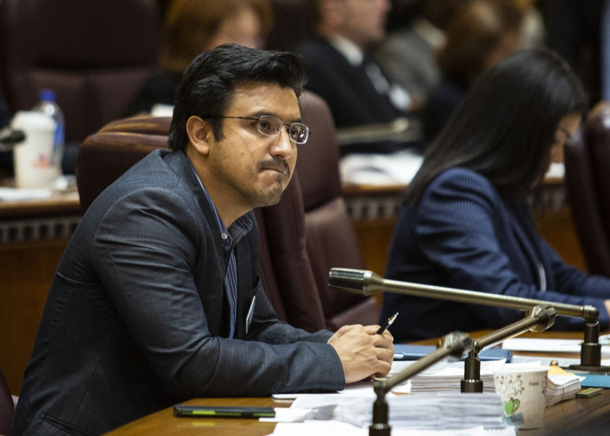 Ald. Byron Sigcho Lopez (25th) attends a City Council meeting in 2019.