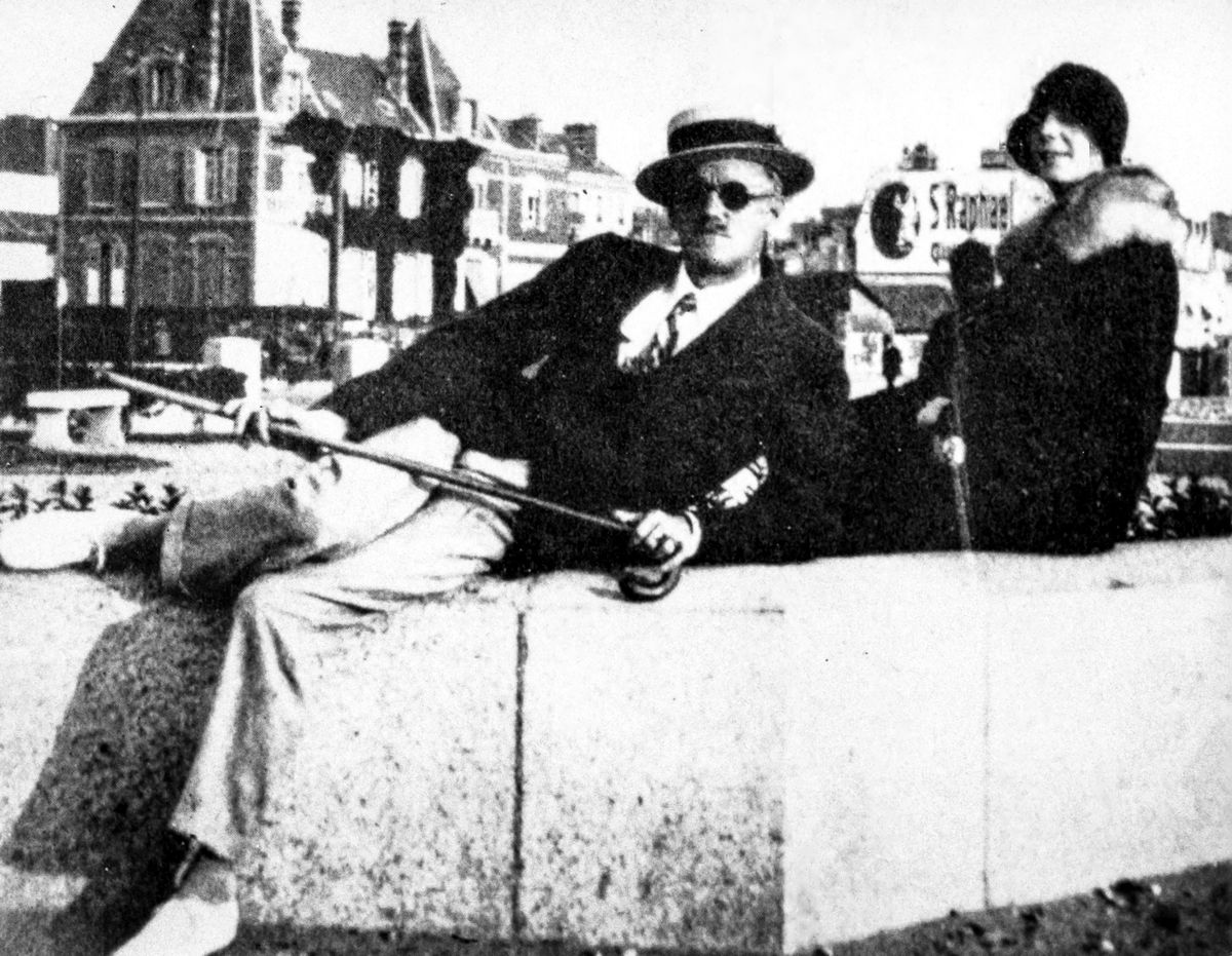 James Joyce disposing himself restfully, with Nora Barnacle, photographed in 1930