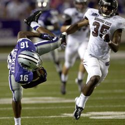 Kansas State return specialist Tyler Lockett (16) loses his balance in front of Missouri State safety Anthony Lee (35) during the second half of an NCAA college football game in Manhattan, Kan., Saturday, Sept. 1, 2012.