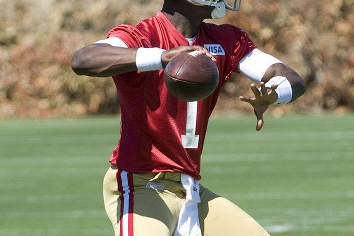 June 12, 2012; Santa Clara, CA, USA; San Francisco 49ers quarterback Josh Johnson (1) throws a pass during 49ers minicamp at San Francisco 49ers training facility.  Mandatory Credit: Ed Szczepanski-US PRESSWIRE