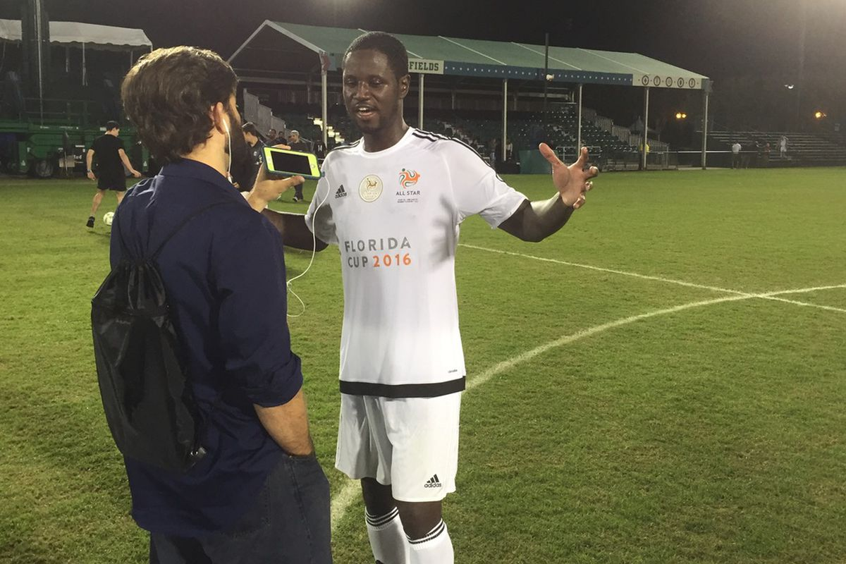 Former USMNT and MLS striker Eddie Johnson talked to reporters after last night's Florida Cup All-Star Game.