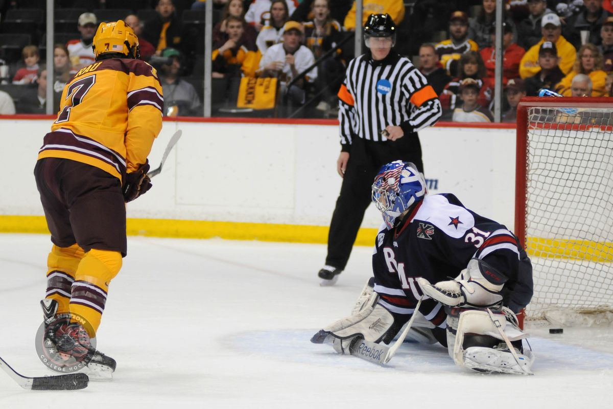 Kyle Rau (7) became the 49th Minnesota player to pass 125 career points Friday. He has scored a point in all 4 season openers.