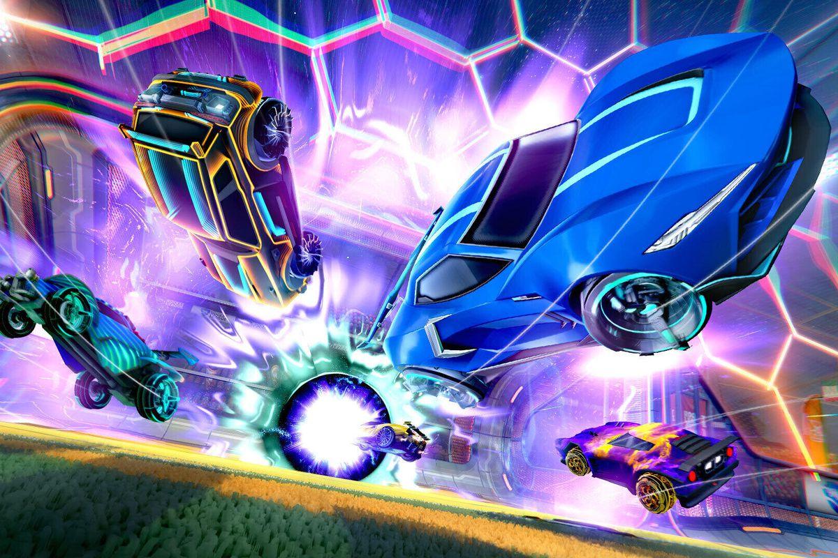 Four cars leap through the air in a screenshot from Rocket League