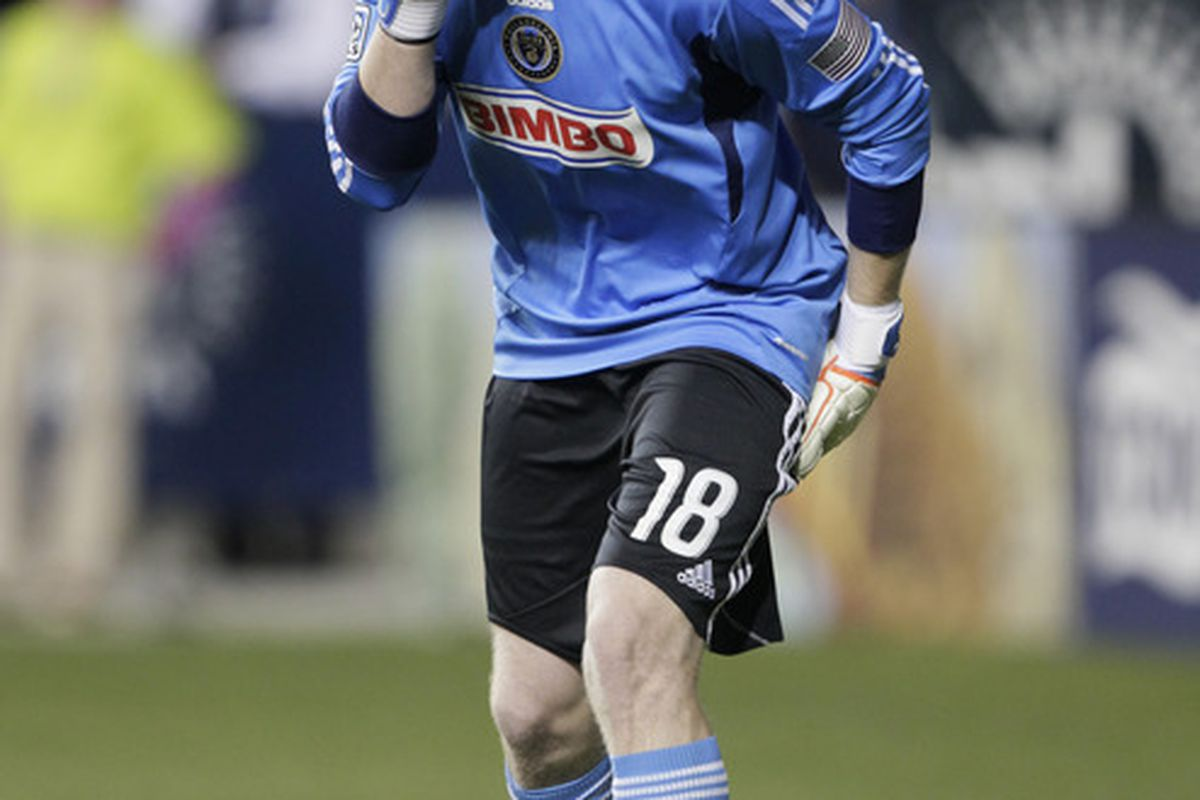 CHESTER, PA - SEPTEMBER 17: Zac MacMath #18 of the Philadelphia Union shouts at his team during their MLS soccer game against the Columbus Crew, September 17, 2011 at PPL Stadium in Chester, Pennsylvania. (Photo by Chris Gardner/Getty Images)