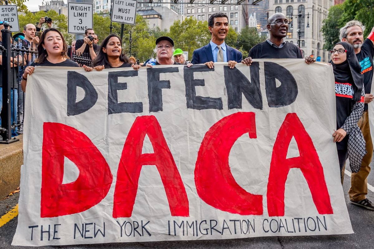 Protesters gathered near Trump Tower in New York City on September 5th, 2017, to protest the Trump administration's decision to end DACA.