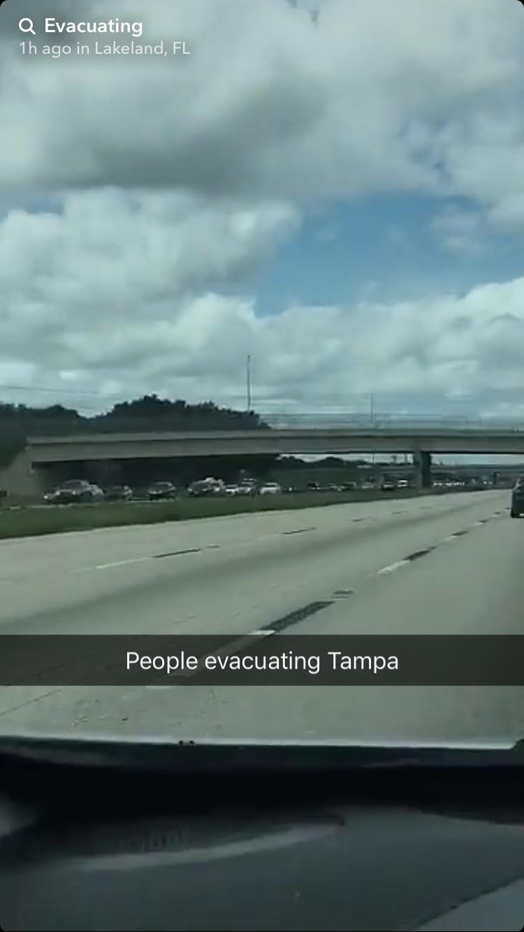 Traffic evacuating Florida on Snapchat
