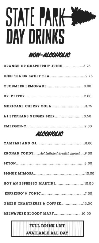 Day drinking menu at State Park