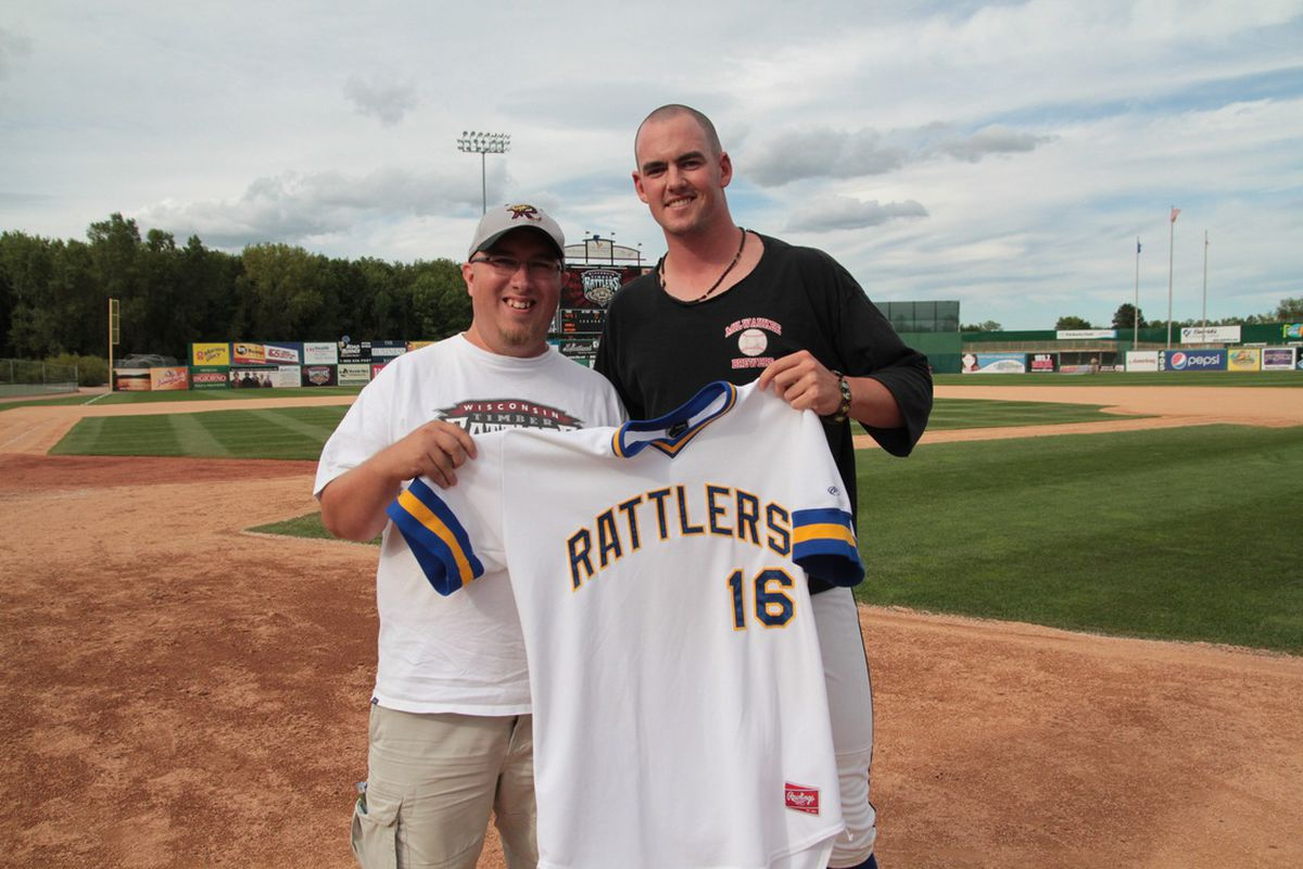 I don't have a picture of Trent Durrington, but here's one of me and 2011 Wisconsin Timber Rattler Greg Holle. He turns 23 today.