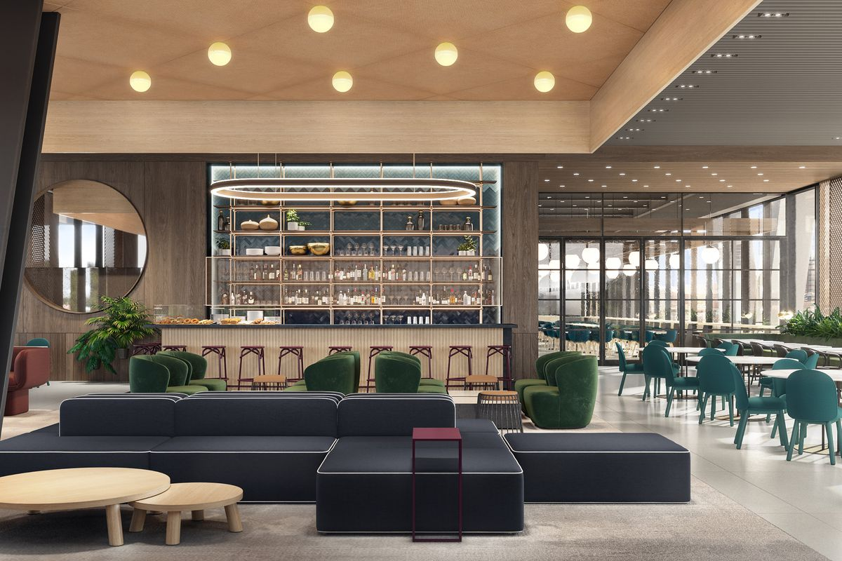 A rendering of a food hall with teal seating