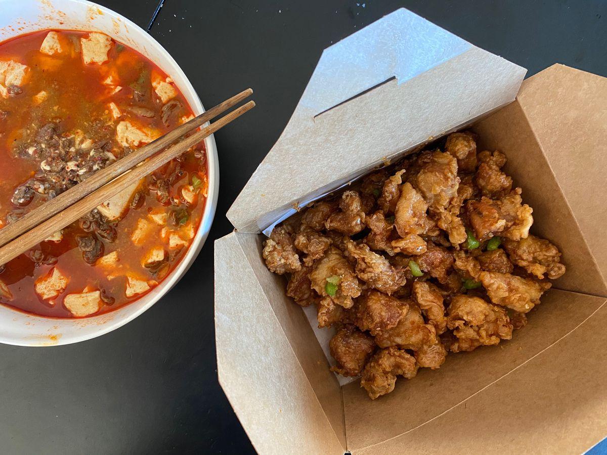 Tofu stew and popcorn chicken at Gangnam Tofu