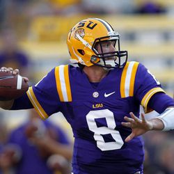 LSU quarterback Zach Mettenberger (8) warms up before their NCAA college football game against Idaho in Baton Rouge, Saturday, Sept. 15, 2012.