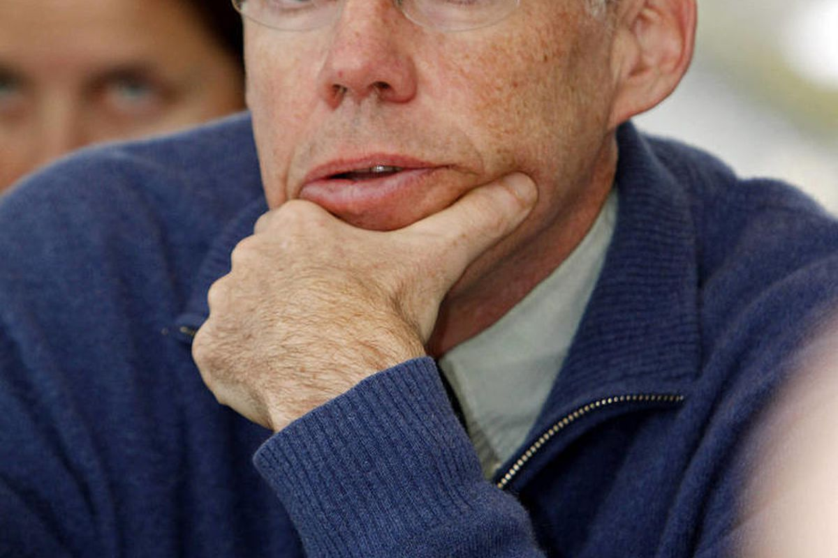 Environmental activist Bill McKibben speaks to the House Natural Resources and Energy Committee at the Statehouse in Montpelier, Vt., Tuesday, Feb. 7, 2012.