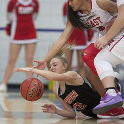Timpview's Madelyn Boulton and East's Margarita Satini grab for the ball during East's 68-48 victory against Timpview in the Class 5A state championship game at Salt Lake Community College in Taylorsville on Saturday, Feb. 24, 2018.