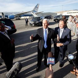 Vice President Mike Pence makes a few remarks before he and Gov. Gary Herbert leave the general aviation facilities at Salt Lake City International Airport on Wednesday, Aug. 21, 2019.