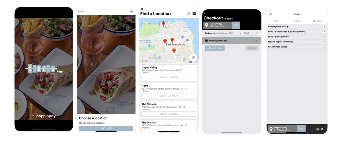 App screen shots Souvla