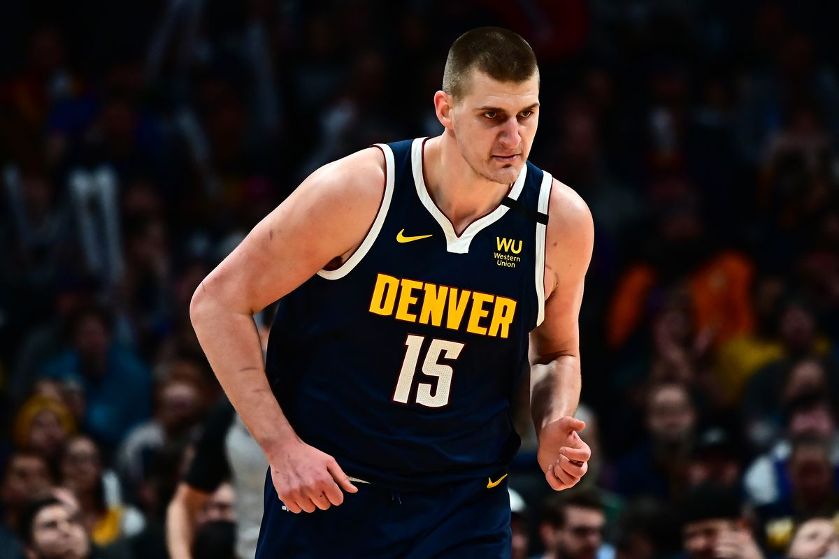 Denver Nuggets center Nikola Jokic following his score in the first quarter against the Utah Jazz at the Pepsi Center.
