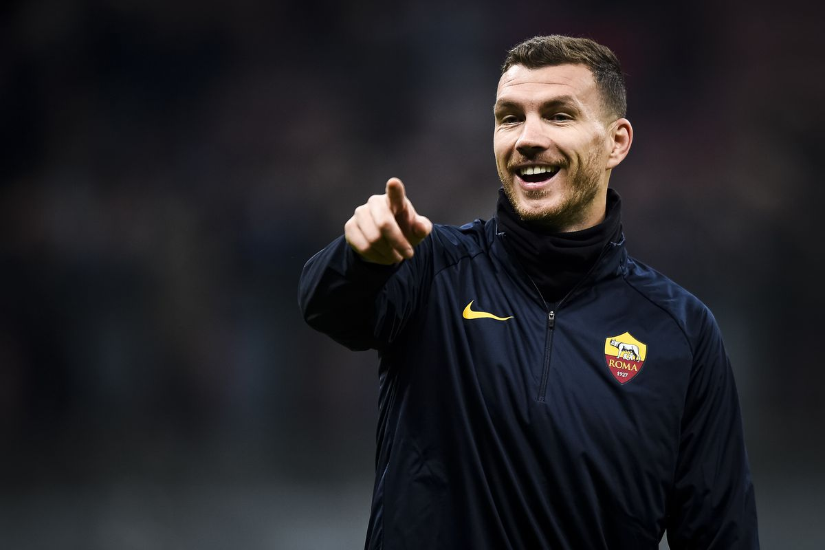 Edin Dzeko of AS Roma gestures during warm up prior to the...