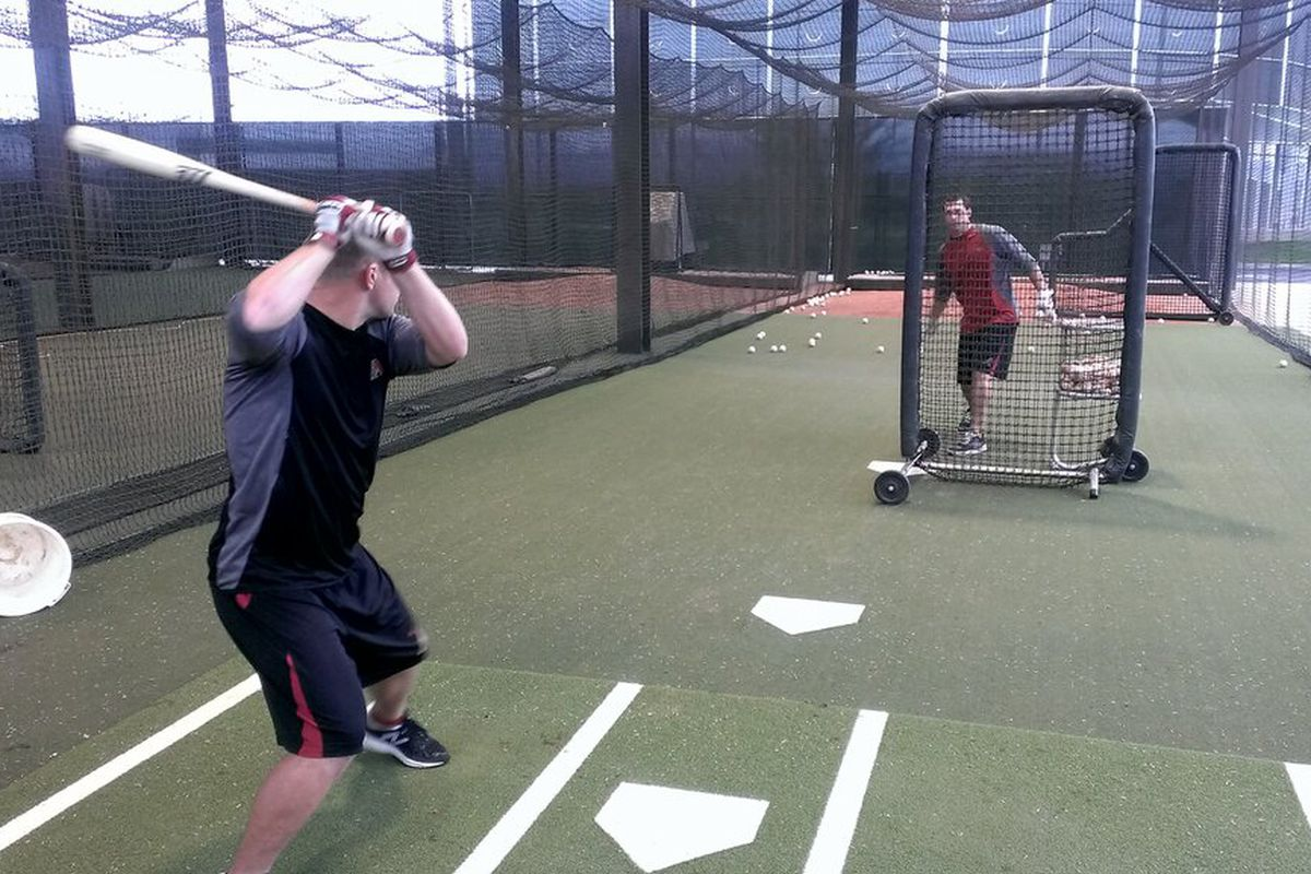 """""""Aaron Hill & Paul Goldschmidt hitting this morning. Been here for weeks."""""""