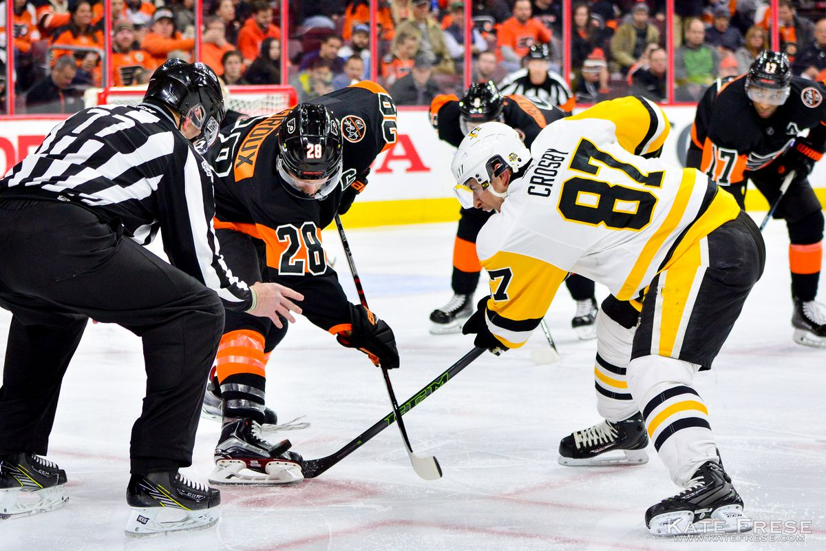 A shot by Philadelphia Flyers' Sean Couturier gets past Penguins'  goaltender Matt Murray during the third period of Friday's Stanley Cup  playoff game in ...