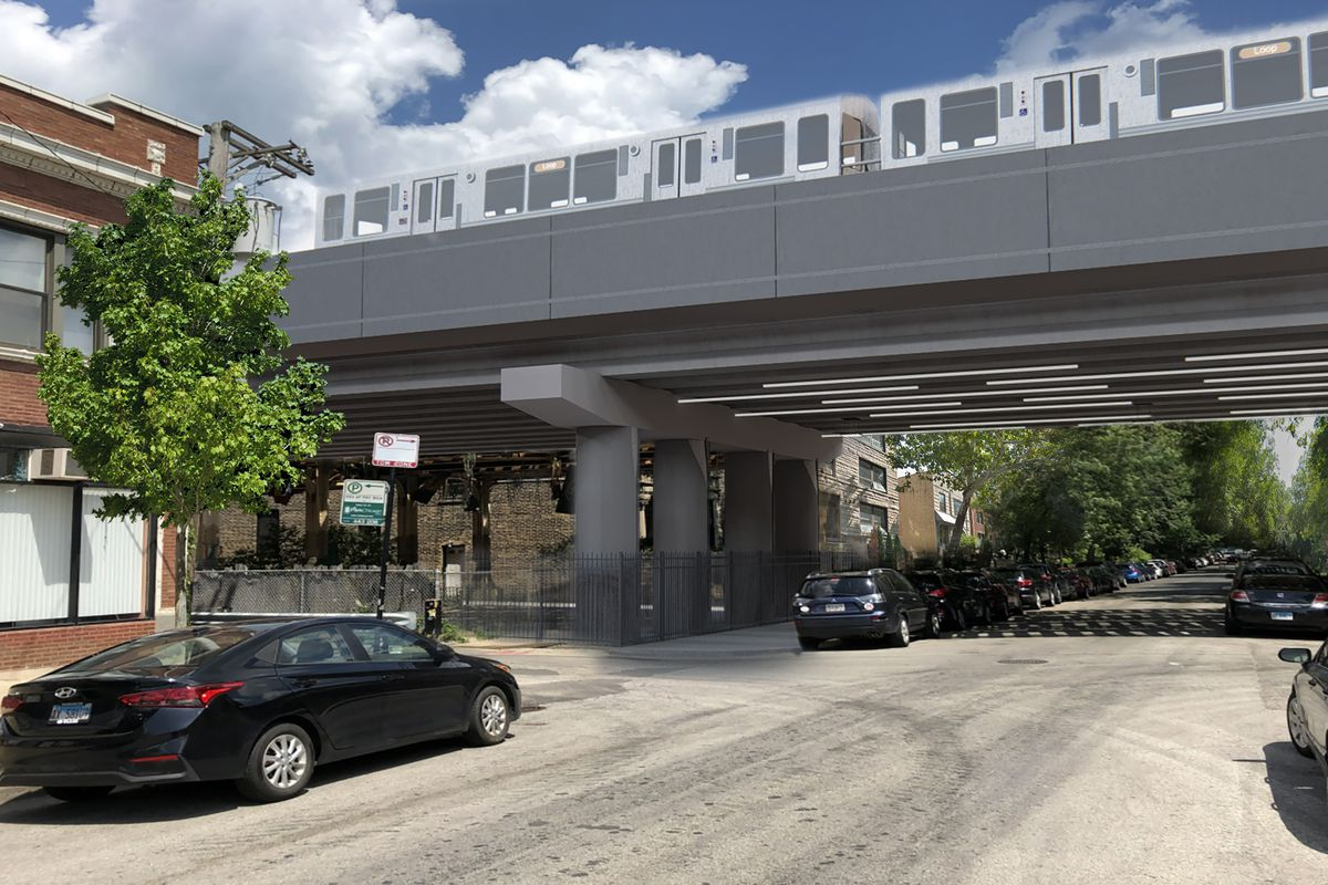 A view from the street with cars parked on either side shows a CTA overpass with LED lighting underneath and a new track system with Brown Line train running.