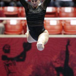 Utah's Cortni Beers performs on the beam at the NCAA Salt Lake Regional Gymnastics Saturday, April 7, 2012 in Salt Lake City.