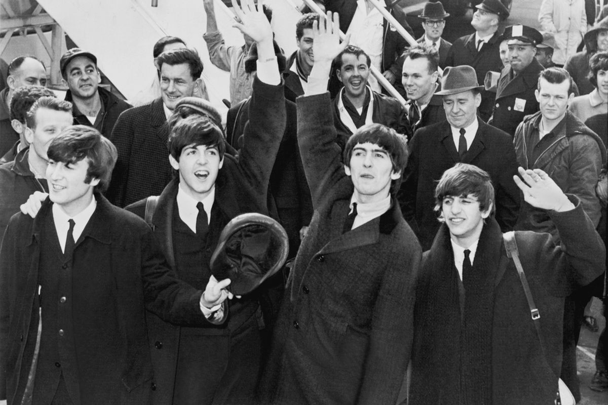 The Beatles disembark at Kennedy Airport. (Library of Congress)
