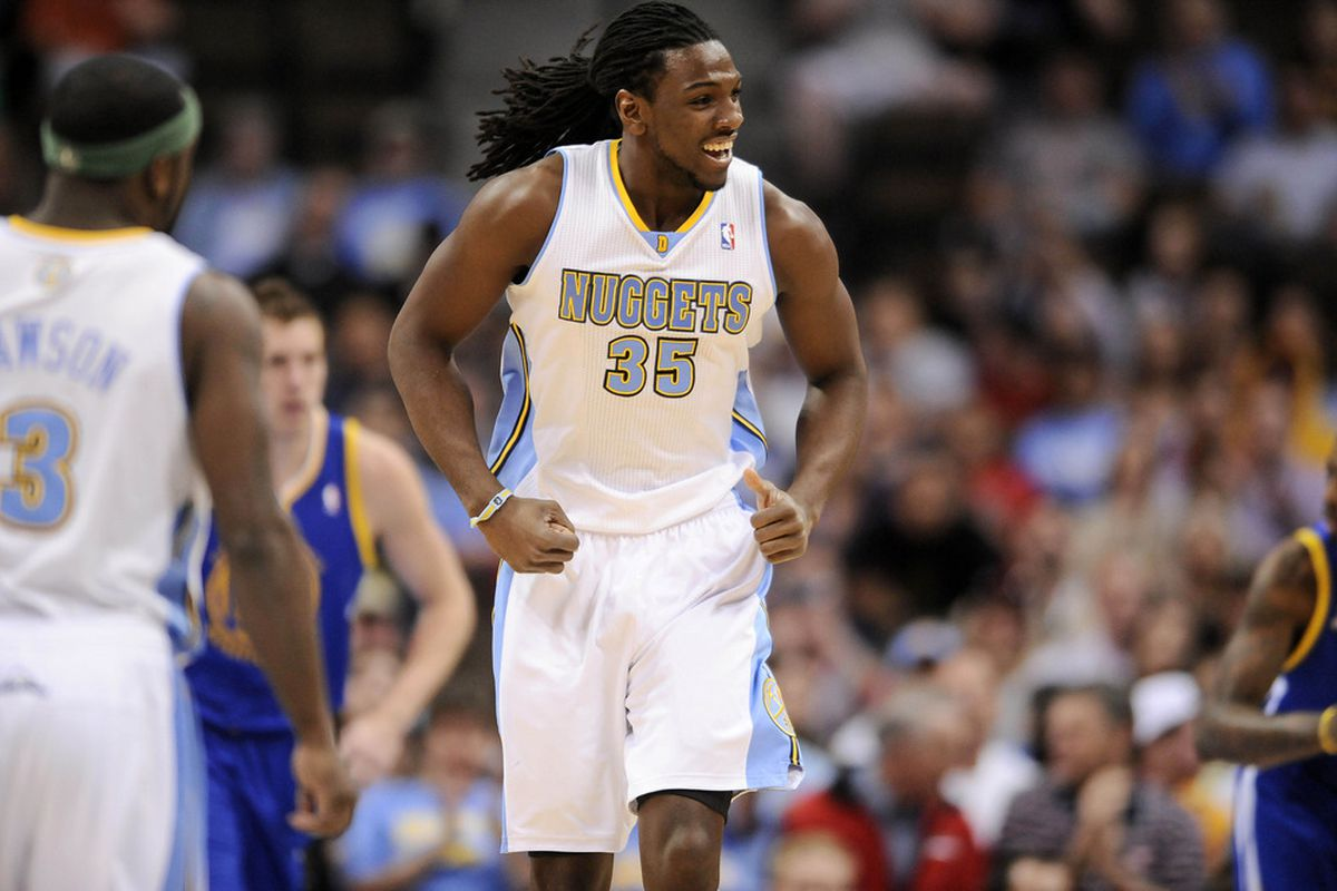 April 9, 2012; Denver, CO, USA; Denver Nuggets forward Kenneth Faried (35) reacts to his basket against the Golden State Warriors during the first quarter at the Pepsi Center. Mandatory Credit: Ron Chenoy-US PRESSWIRE