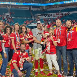 Daniel Sorensen celebrates Kansas City's Super Bowl victory over San Francisco with members of his family. From left to right: Rod Halford, Jill Halford, Emily (Sorensen) Yeates, Cody Sorensen (kneeling), Whitney Sorensen, Brooks Sorensen (Whitney holding),Daniel Sorensen,Kennedy Sorensen (Dan holding) Roxann Sorensen, Brad Sorensen, Bryan Sorensen.
