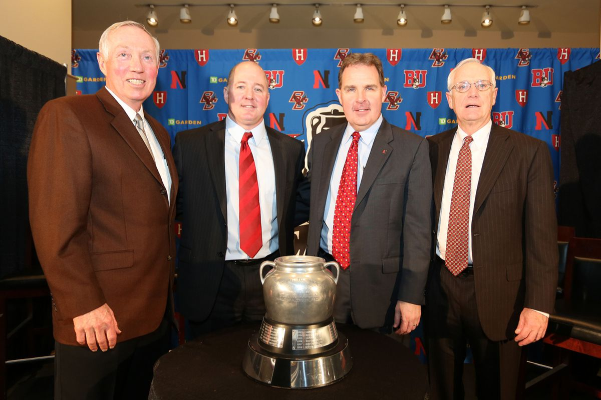 Harvard hockey coach Ted Donato (2nd from left) has a new assistant in former Northeastern forward and Youngstown Phantoms (USHL) assistant coach Rob Rassey.