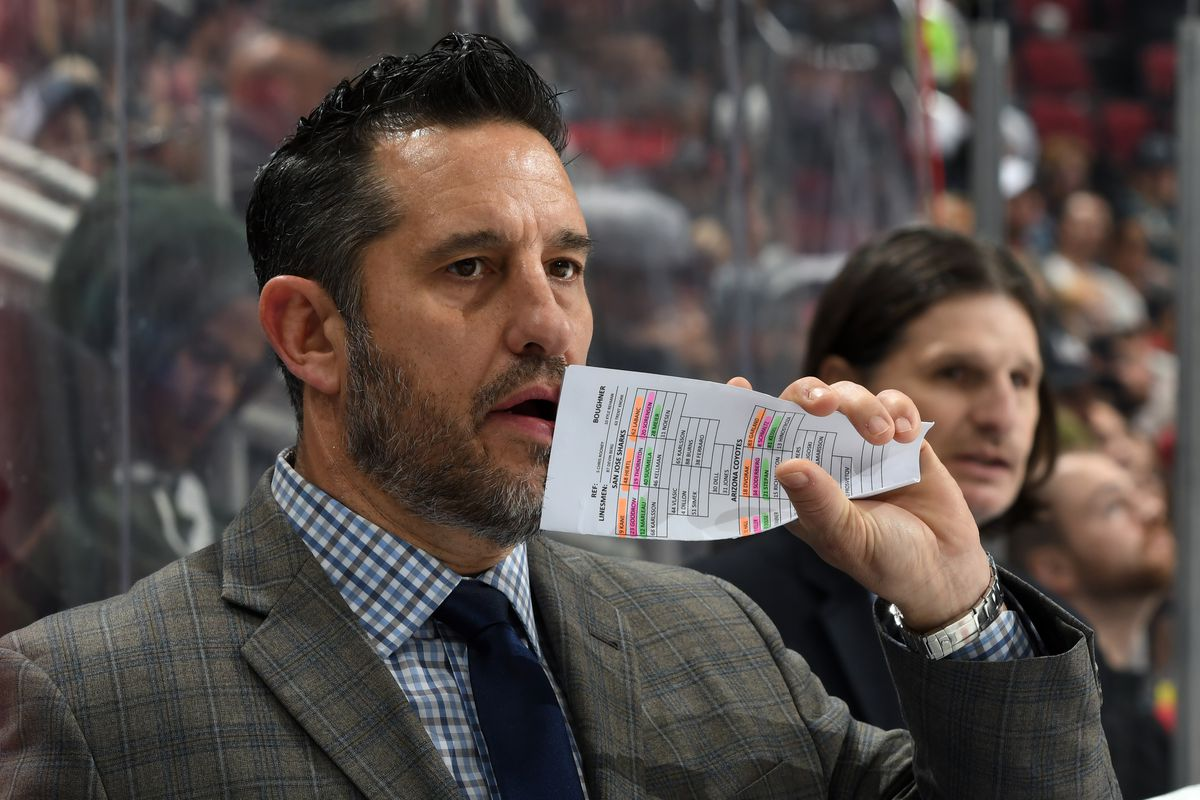 GLENDALE, ARIZONA - JANUARY 14: Interim head coach Bob Boughner of the San Jose Sharks looks on from the bench during the second period of the NHL hockey game against the Arizona Coyotes at Gila River Arena on January 14, 2020 in Glendale, Arizona.