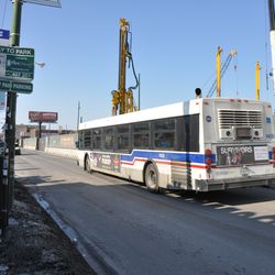 CTA bus headed northbound on a narrowed Clark Street -