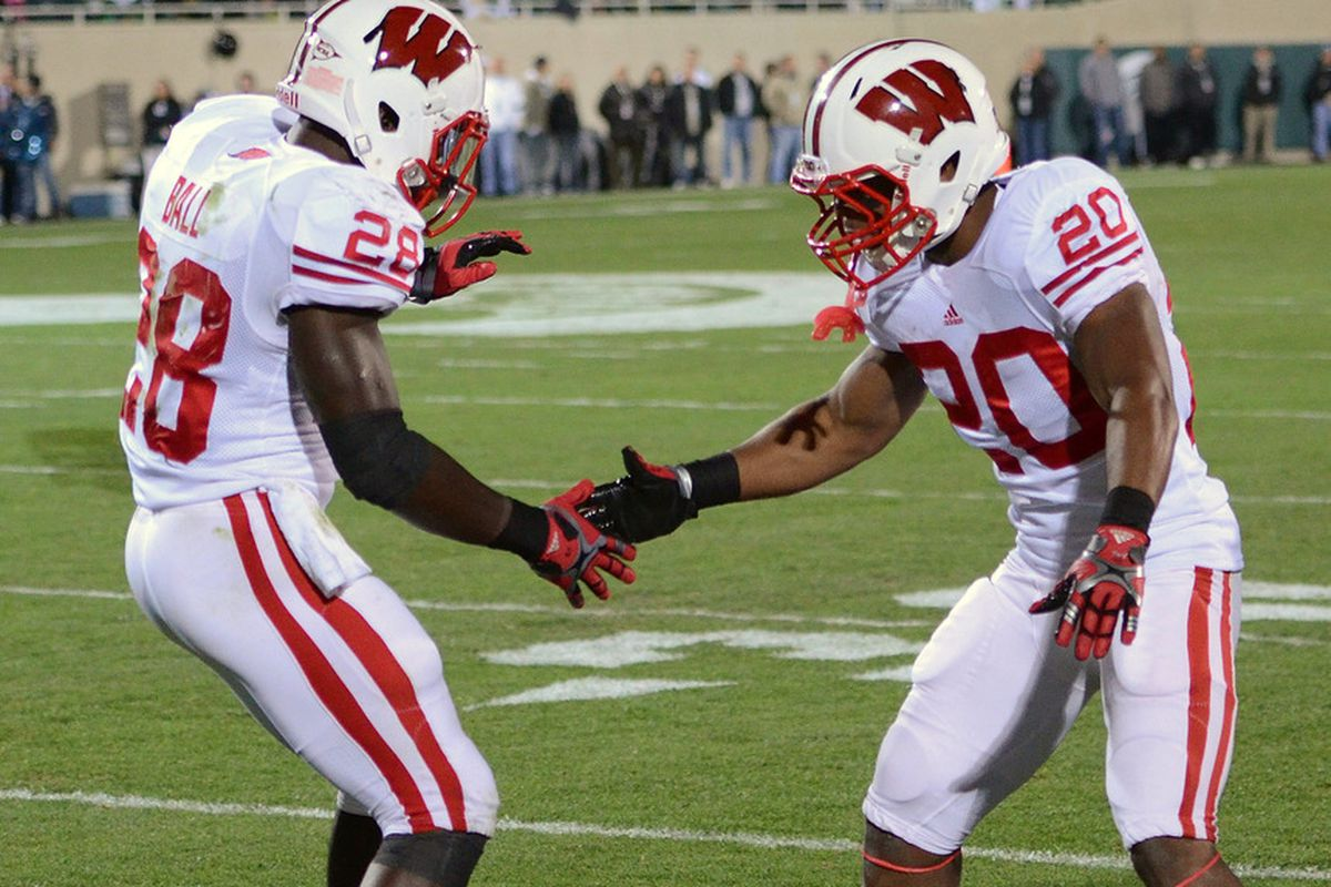 Wisconsin worked out of a set that featured both James White and Montee Ball in the backfield in Tuesday's practice.