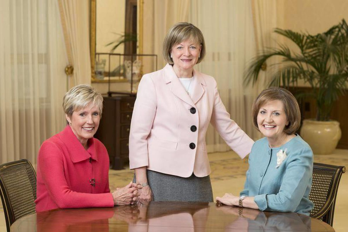Presidents of the auxiliary organizations of The Church of Jesus Christ of Latter-day Saints are (left to right) Sister Rosemary M. Wixom, Primary general president; Sister Bonnie L. Oscarson, Young Women general president; and Sister Linda K. Burton, Rel