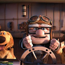 """Dug, left, Carl Fredricksen and Russell in a scene from """"Up."""""""