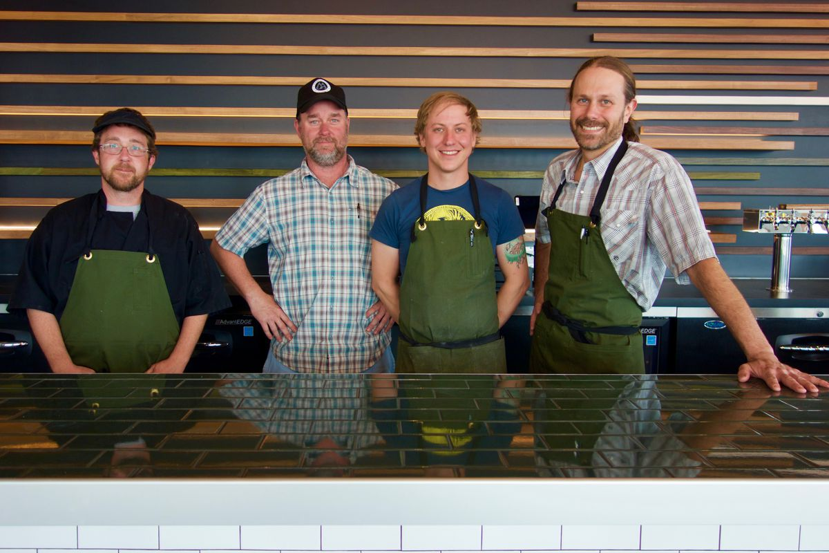 Please Louis cook Jason Dunlap, co-owner Brian Carrick, sous chef Eli Gregory and executive chef Brian Lamback