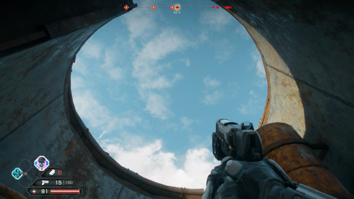 The beautiful open roof of a bathroom in Rage 2