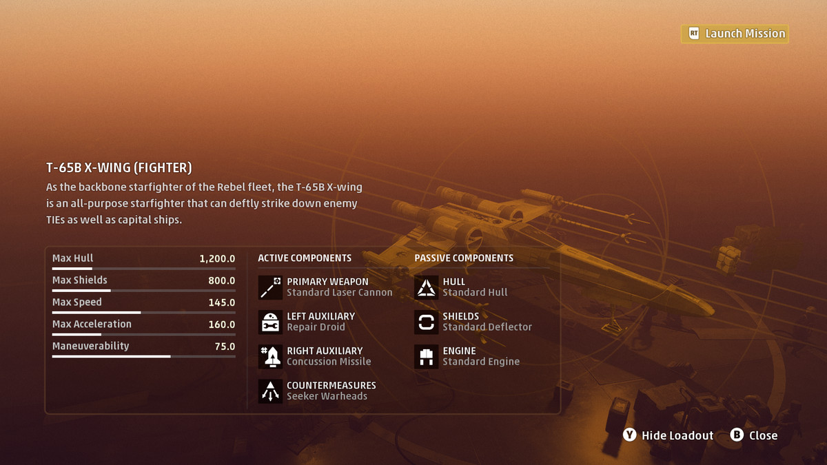 The spacecraft load out screen in Star Wars: Squadrons