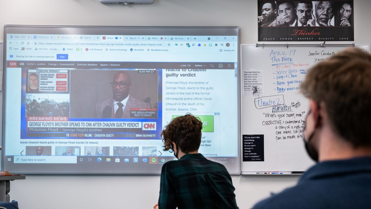 Students watch Philonise Floyd react to the conviction of former Minneapolis police officer Derek Chauvin for the murder of his brother, George Floyd, during a discussion between Northfield High School student council officers and members in Denver, Colorado, on Wednesday, April 21, 2021.